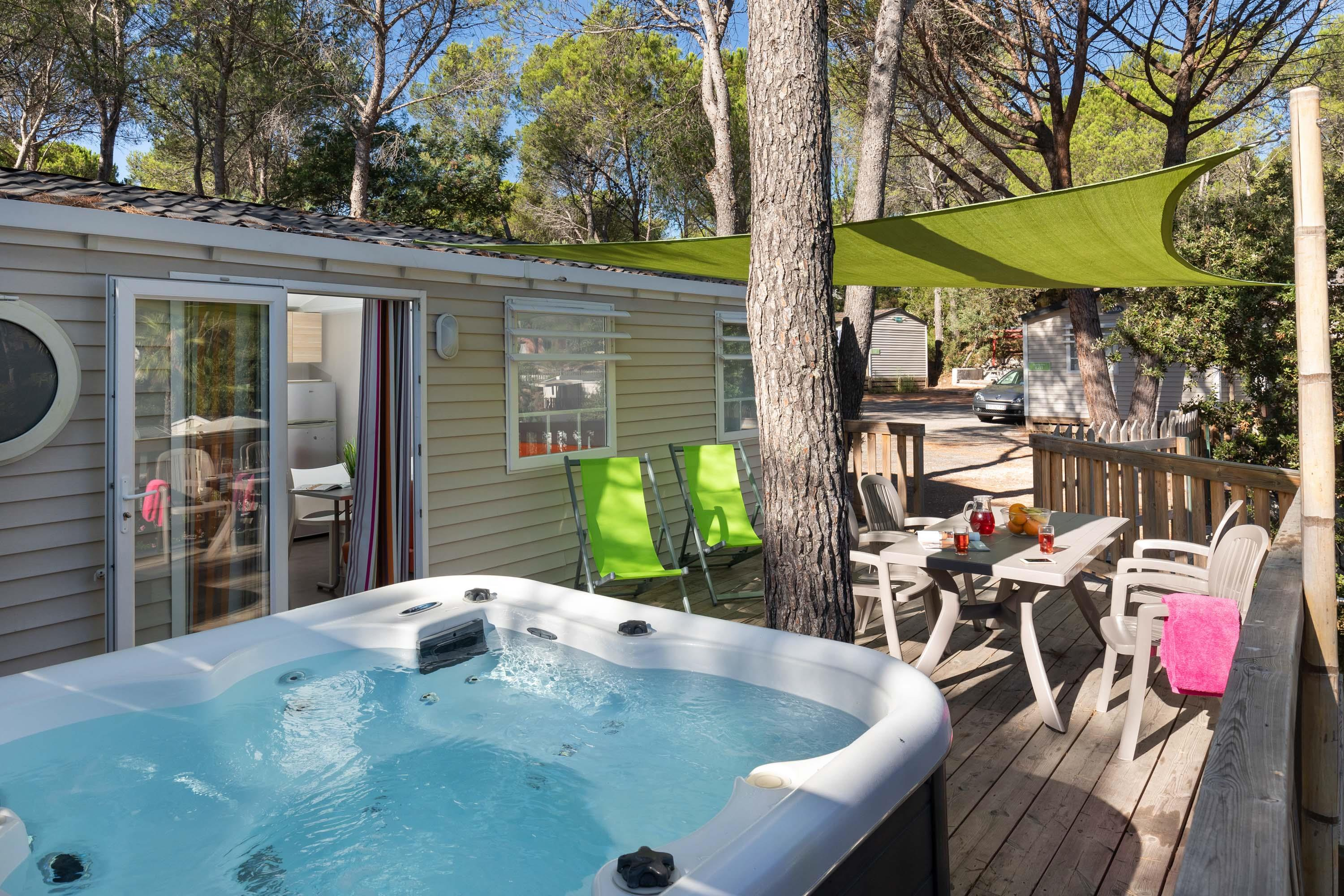 Location - Cottage Family Spa Luxe 35 M² - 3 Chambres +  Clim Et Tv + Spa - Camping Holiday Green