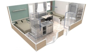 Confort+ Mobile Home Evo 2 Bedrooms 24M² + Half-Covered Terrace