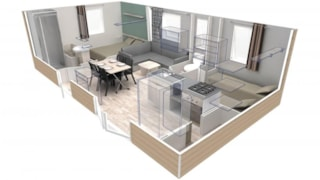 CONFORT+ Mobile home EVO 2 bedrooms 29m² + Half-covered terrace
