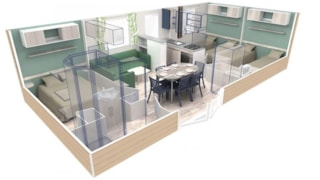CONFORT+ Mobile home EVO 3 bedrooms 33m² + Half-covered terrace
