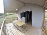 Rental - On piles Cabane Lodge 34m²  (2 bedrooms) + sheltered terrace 10 m² - Flower Camping Provence Vallée