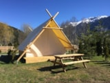 Rental - Tent PROSPECTEUR 21m² Wood stove - without toilet blocks - Camping - Caravaneige Le Montana