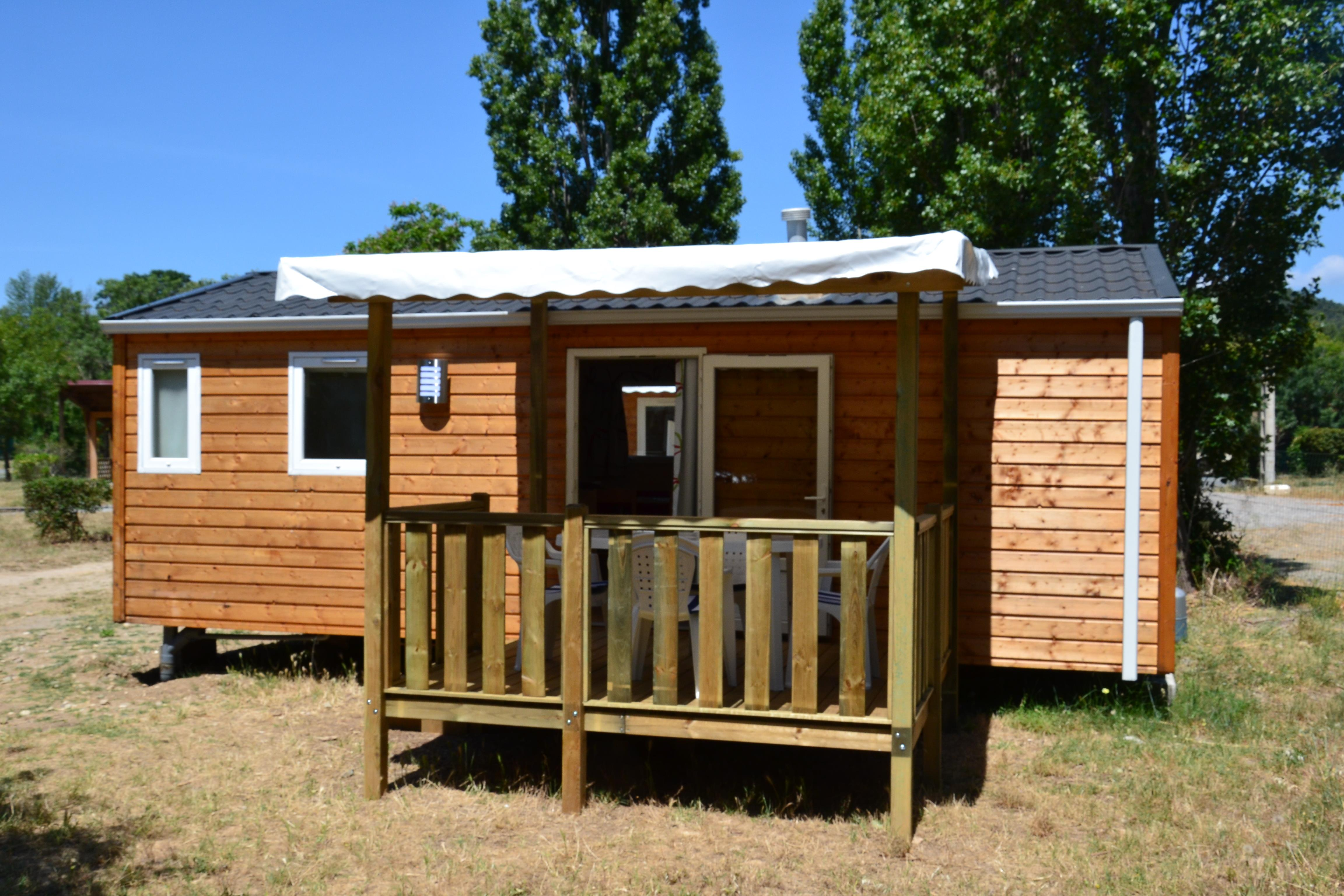 Location - Mobil Home Éco 2 Chambres 28M² + Climatisation - Flower Camping Olivigne
