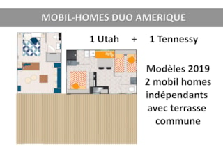 Mobil Homes Duo Amerique 6 Pers: 1 Utah + 1 Tennessy Independant With A Large Terrace + Place Per 2 Vehicles