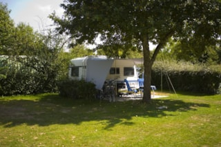 Pitch 80 m² (1car, tent or caravan+ 10A electricity+water)