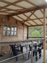 Rental - Wooden Chalet 23m² with private facilities - Camping Bellevue