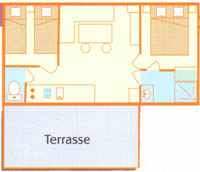 Mobilhome - 29 m², WC, shower, terrace