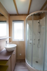 Rental - Chalet ORCHIDEE 35m² 3 bedrooms + sheltered terrace - Flower Camping Le Moteno