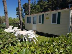 Mobile Home DELUXE (airconditioning included) 21 m² - 4 Beds + 1 extra person in the livingroom - 1 bathroom - garden