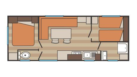Location - Mobil-Home Indiana - 24M²-Gamme Discount - Camping La Pierre Verte