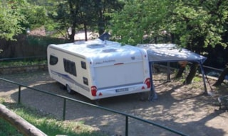 Caravan And Car Or Camper The Electricity Is Free Of Charge
