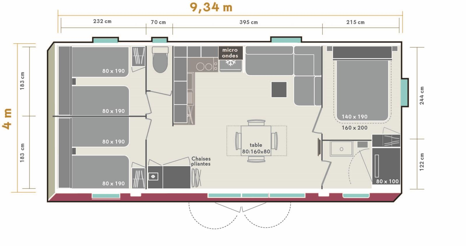 Mobil home 35m² 3 chambres 6 pers. mercredi