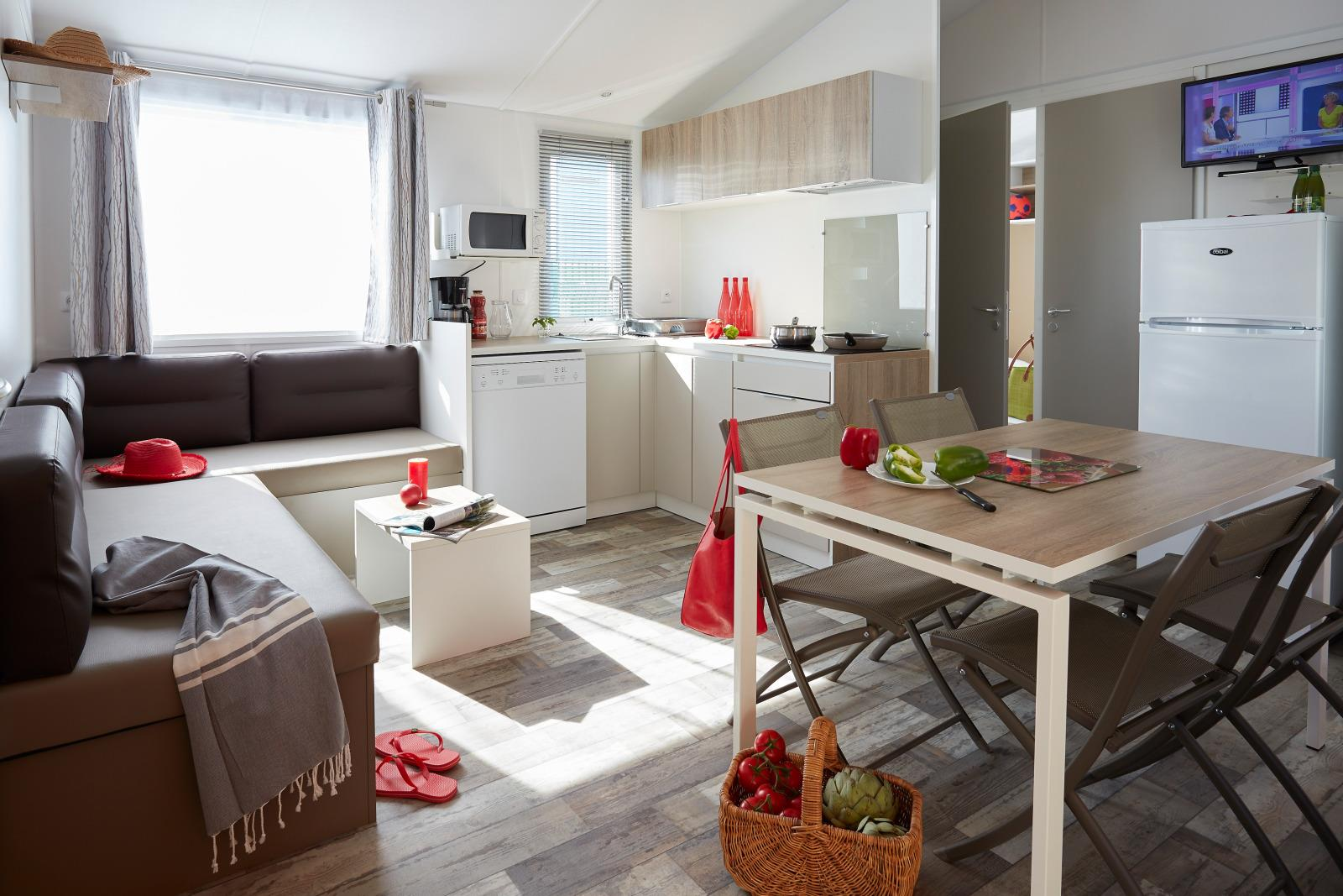 Location - Mobil-Home Famille - 32M² - 3 Chambres - Camping de L'Eve