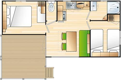 Mobilhome Confort 2 Chambres / Terrasse Intégrée