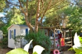 Rental - Mobil-home TITANIA 23m² with bathroom + 10m² wooden terrace with shelter - Camping Sites et Paysages LE MAS DU PADRE