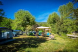 Pitch - Privilege Package (1 Tent, Caravan Or Motorhome / 1 Car / Electricity 10A) + Riverside  / Pergola  / 100-180 M²) - Flower Camping Le Pont du Tarn