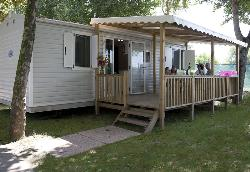 Mobil Home Bora Bora With Wooden Covered Terrace, Garden Table And Chairs.