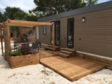 Rental - Mobile Home Laurier Rose Premium (3 Bedrooms) - 33M2- Sheltered Terrace 16M² - 1Bathrooms + Dishwasher + Tv + Air-Conditioning - Flower Camping Le Mas de Mourgues
