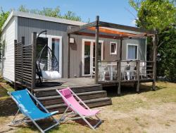 Stacaravan 32m² (3 kamers) +  Bed 160 + TV + Airconditioning +  LUXE terras
