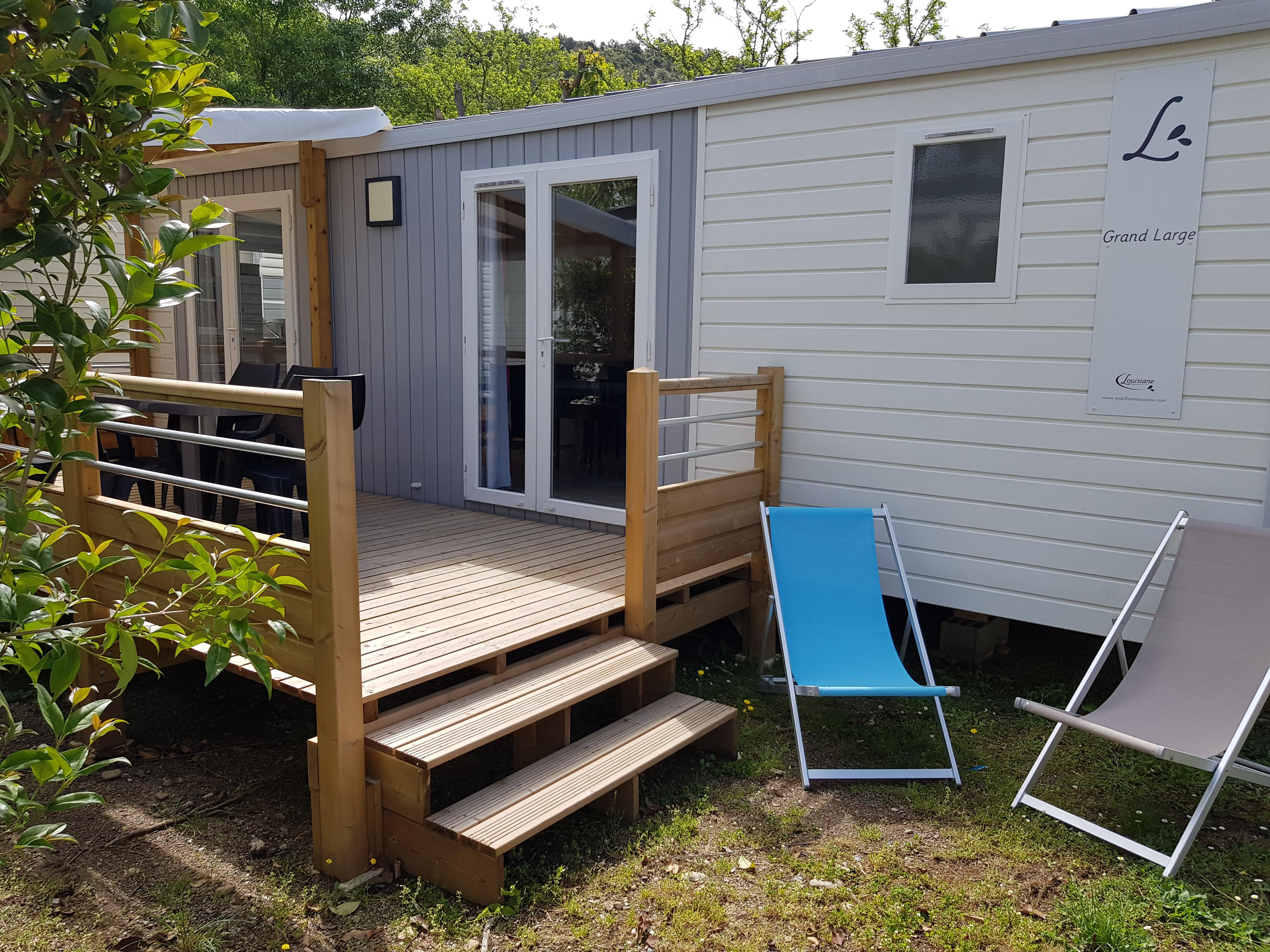 Location - Mobil Home 32 M² (2 Chambres) + Terrasse Premium  (Lit 160 + Tv + Climatisation) - Flower Camping Le Riviera