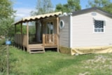 Rental - Mobil home Premium 30m² (2 Bedrooms - Living room - Air-conditioning) + Covered terrace + TV - Flower CAMPING SAINT AMAND