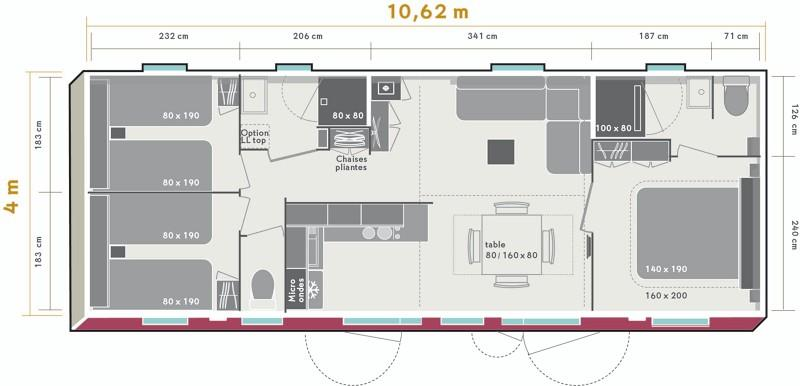 Mobil-home Confort+ 35m² (3 chambres) + TV