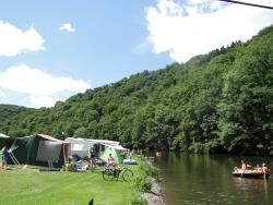 Pitch At The Riverbank + Car + Caravan / Tent / Trailer Tent + Electricity