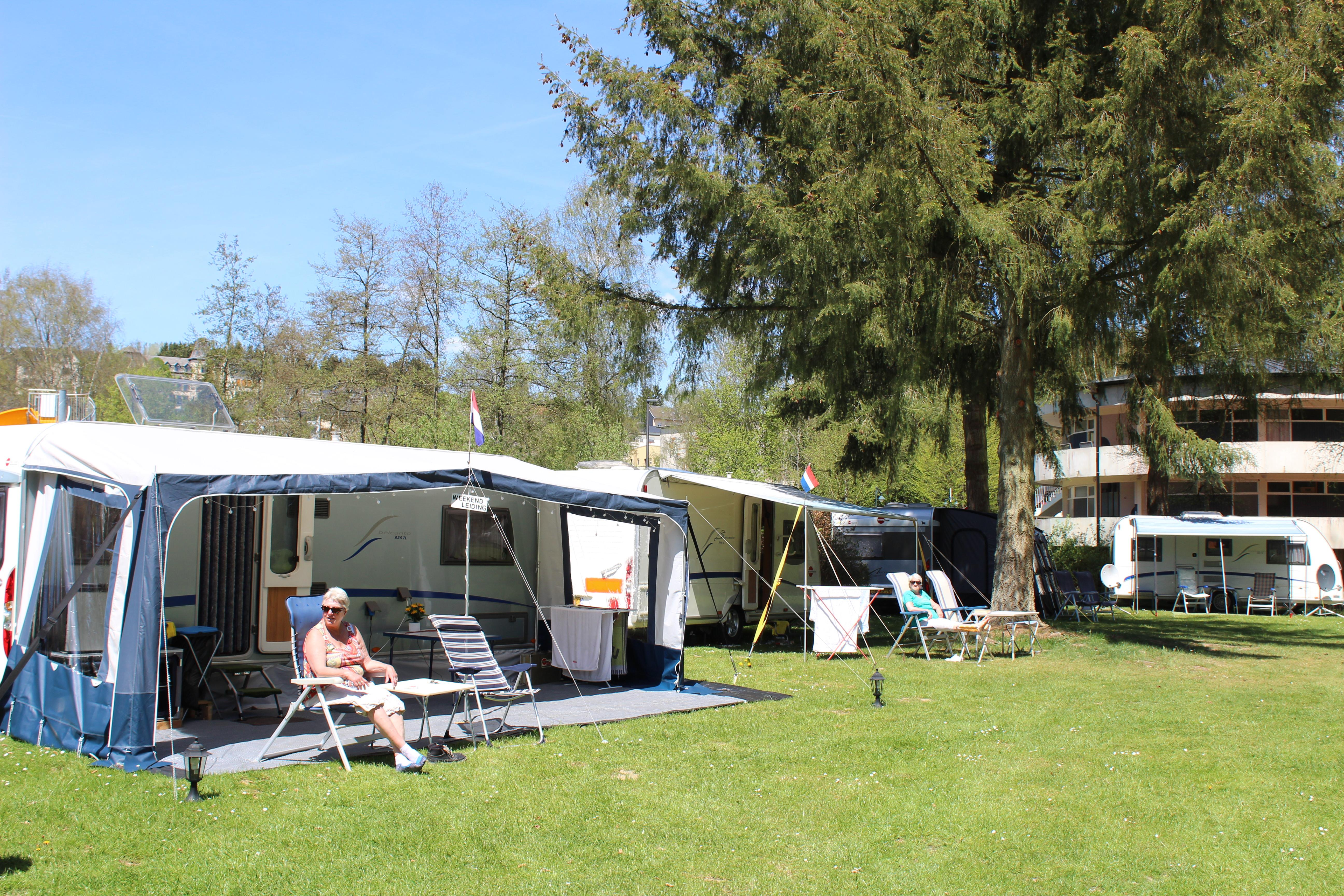 Pitch caravan,tent + 1 car and 1 person