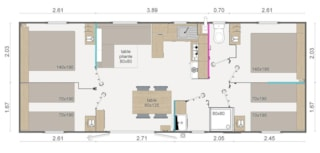 Mobile-home PRESTA + 40m² - 4 bedrooms
