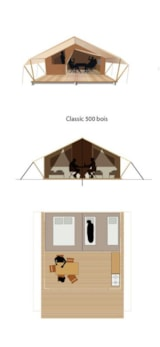 Rental - Lodge Tent 35 m² / 2 bedrooms (without toilet blocks) - 10m² sheltered terrace - CAMPING LES VALADES