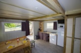 Rental - Cabane du Lac 36 m2 / 2 bedrooms - sheltered terrace-solarium+Air conditioning - CAMPING LES VALADES