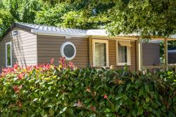 Huuraccommodaties - Mobilhome Nature 28 m2 - 2 chambres - Terrasse semi-couverte - Année 2017 - Camping Domaine de Fromengal