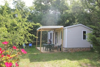 Mobile home 27m², open kitchen on a covered terrasse