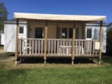 Rental - Mobile home ECO 2 bedrooms, 27m² + covered terrace (2000) - Flower Camping de Mesqueau