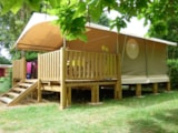Rental - Canvas Bungalow Lodge Canada 20M² - 2 Bedrooms + Sheltered Terrace (12 M²) - Camping du Lac de Groléjac