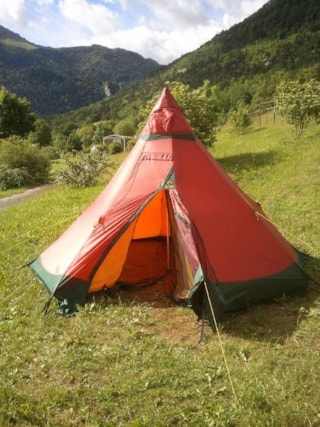 Pitch tent with  motorcycle  or bike