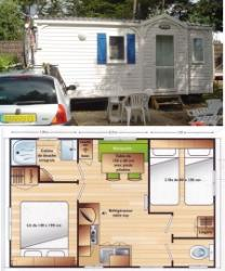 2-bedroom mobile home 4-person, double slope roof, 23 m², ground-level terrace