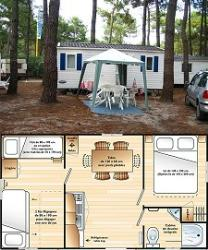 2-bedroom mobile home 5-person, double slope roof, 25 m², ground-level terrace