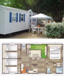 3-bedroom mobile home, 6-person, 32 m² double-slope roof with ground level wood terrace