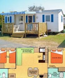 2-bedroom mobile home 6-person, double slope roof, 28 m², semi-covered wood terrace