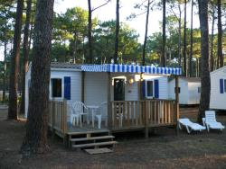 2-bedroom mobile home 5-person, double slope roof, 25 m², semi-covered wood terrace