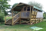 Rental - Bush tents CONFORT + 30 m² (2 bedr.-5 pers.) - including Covered terrace 8 m² - Domaine de Kervallon