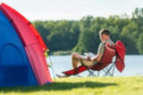 Pitch - Lake luxury pitch for caravans + 1 car + electricity + fresh water and drainage point - Camping Park Weiherhof