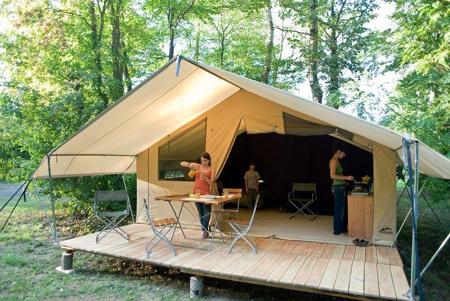 Tente toile et bois classic v for Tente cuisine camping