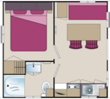 Rental - Mobil-home Eco 17m² (1 bedroom) + terrace - Flower Camping Les Étangs Mina***