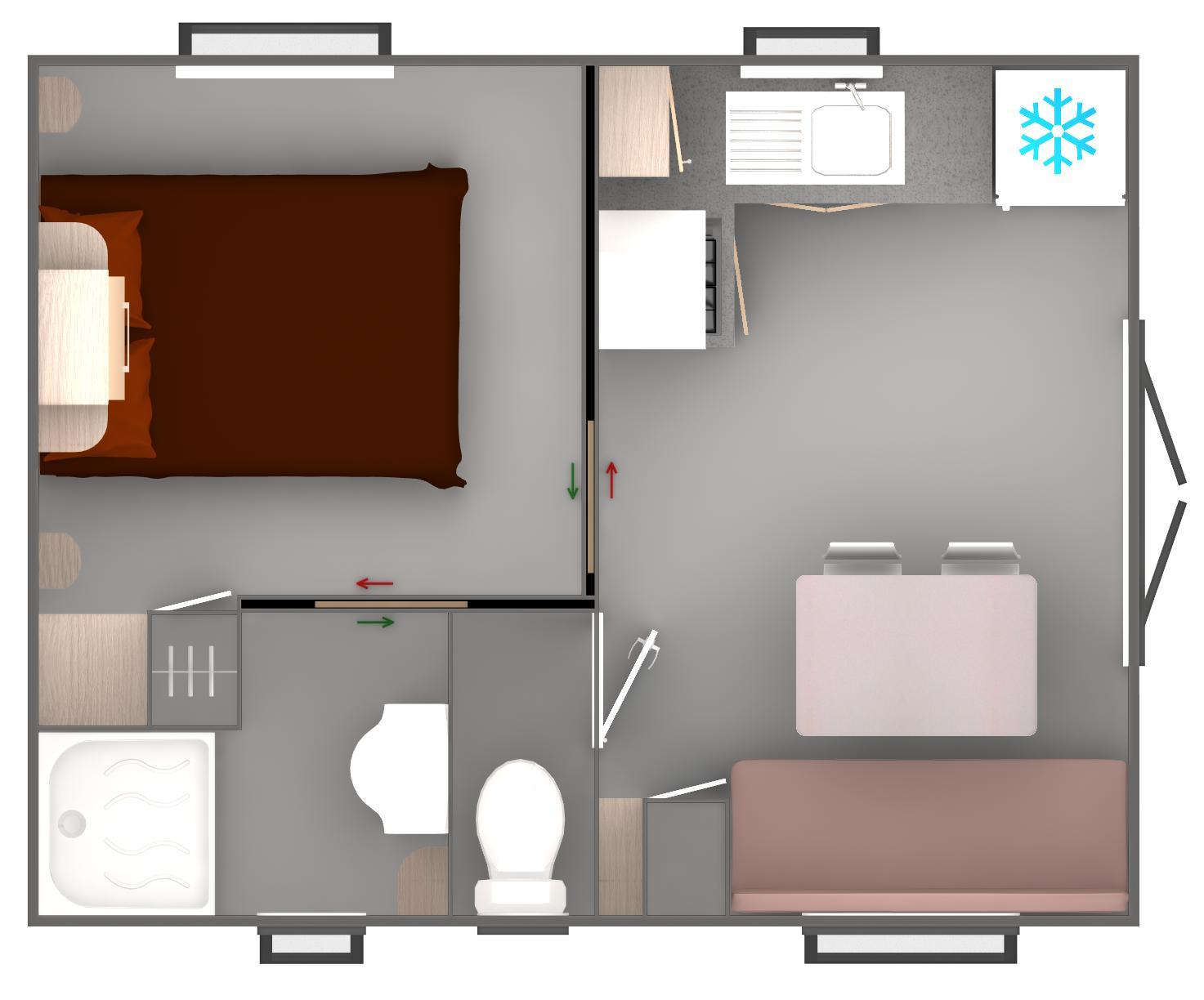 Mobil home trigano vip 1 bedroom 20 m2 10 m2 de for Amenagement chambre 10 m2