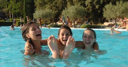 Teenagers group in the swimming pool - Belezy in south of France
