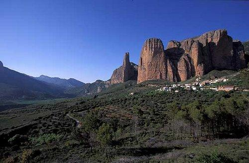 "Riglos ""mallos"" from a campsite in Huesca"